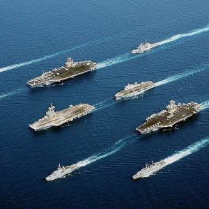 3 Aircraft Carriers and a battle group in the Pacific